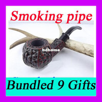 other bent china Free shipping Smoking pipe Briar cigarette holder Mahogany pipes 9 in one set Carving Crafts