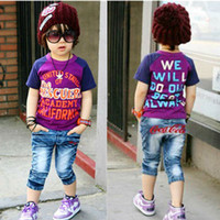 Men Cotton Polo 2013 Hot Selling Summer boys girls color purple letter matching short sleeve T shirt Children's Clothing Free Shipping Alince