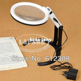 Wholesale Big Size Portable Foldering Dual Illuminated LED Light Magnifier Magnifying Table Desk Lamp For review PCB Stamp Coin MG3B B
