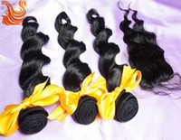 Wholesale HOT b Loose Wave Bleached Knotes Top Lace Closure With Hair Bundles Unprocessed Peruvian Virgin Human Hair Extensions