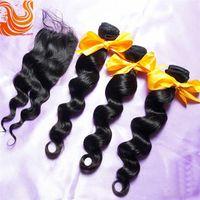 Brazilian Hair Natural Color Loose Wave HOT Natural Black Color Loose Wave Top Lace Closures With 3Pcs Hair Bundles Unprocessed Brazilian Virgin Human Hair Extensions Free Shipping