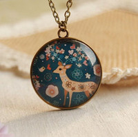 Pendant Necklaces american forest animals - New Forest Deer Pendant Necklace Long Necklaces Vintage Fashion Jewelry Necklace xl039