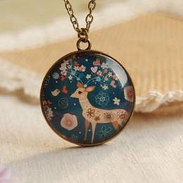 Wholesale New Forest Deer Pendant Necklace Long Necklaces Vintage Fashion Jewelry Necklace xl039
