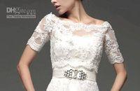 Wholesale Short Beige Evening Dress - 2015 Hot Sale White Lace Jacket Off- shoulder Match for Wedding Dresses Prom Evening Gowns Bolero Elbow sleeve Jacket