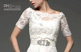 Wholesale 2015 Hot Sale White Lace Jacket Off shoulder Match for Wedding Dresses Prom Evening Gowns Bolero Elbow sleeve Jacket