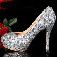 Wedding Heels High Heel Custom made Sweet Pearl Crystal Beaded lady's formal shoes High Heels Beaded Bridal Evening Prom Party Wedding Dress Bridesmaid Shoes