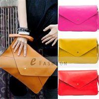 Wholesale Fashion Lady Women PU Leather Envelope Clutch Chain Purse Handbag Shoulder Hand Tote Bag