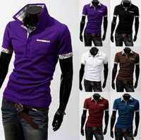 Men Polo Bussiness Casual Tee Men's Short sleeve Cultivate one's morality T shirt Cotton Short Sleeve slim Short Sleeve Jacket fit shirt 7 Color 5 Size(M,L.XL,XXL,XXXL)