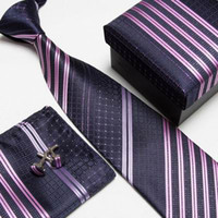 Wholesale Men s Tie Cuff Links Handkerchief Artifical silk polyster plain tie tie set fashion bussines tie