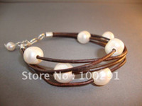 Wholesale Free ship natural freshwater pearl genunine leather bracelet