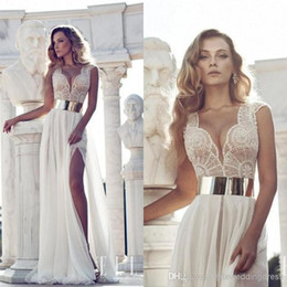Wholesale Julie Vino Sexy Beach Wedding Dresses Cap Sleeve Sheer Chiffon Beaded Bodice With Plunging Neck Thigh High Slit Wedding Dress
