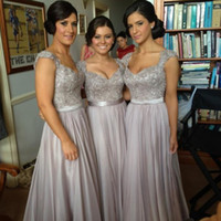Wholesale 2014 Hot Sale Bridesmaid Dresses Unique Gray Chiffon Tank Strap and Blink Sequins Floor Length A line Prom Dress Wedding Party Dresses