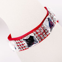 Wholesale Western Style Square Rhinestone Inlaid Adjustable Ribbon Bracelet with Lobster Clasp LW3121426
