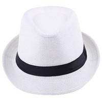 Wholesale New White Trendy Fedora Hat Soft Trilby Gangster Cap Summer Beach Hat Sun Block Straw Cap Panama Hat ZDS1