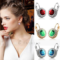 Wholesale 1 Pair Multi Colors River Moon Rose gold plated austrian crystal earrings with swarovski elements