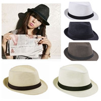 Wholesale New Trendy Fedora Hat Soft Trilby Gangster Cap Summer Beach Hat Sun Block Straw Cap Panama Hat ZDS