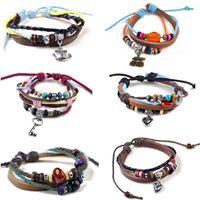 Wholesale 6pcs Bulk Surfer Tribal Woven Hemp Leather Bracelets Wristband Unisex