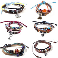 6pcs Wholesale Bulk Surfer Tribal Woven Hemp Leather Bracele...