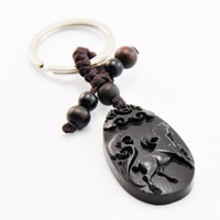 Wholesale Ebony wood carving car ornaments key Ukrainian Wood carving wood zodiac sheep key chain car key pendant