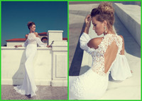 Wholesale 2014 Mermaid Backless Wedding Dresses Naked shoulder Long Sleeve White Ivory Lace Chiffon Jewel Sweep Train Bridal Gowns Cheap wj17