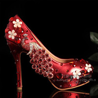 2014 Free Shipping Red Pearls Crystal Beaded lady formal shoes Beaded