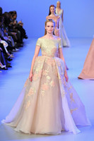 sequin appliques - 2014 Elie Saab Spring Gorgeous Sequins Appliques Prom Dress Ball Gown Bateau Neckline Short Sleeves Floor Length With Sash Evening Gown