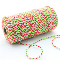 Wholesale Cotton Green Twine - 28 Spools Red Green Divine Twine Double Color Cotton Bakers Twine 21Mix Colors For Gift Wrap Free Shipping