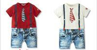 Unisex Summer Organic Cotton 2014 Summer Baby Clothing Fake Tie Denim Straps Short Sleeve Toddler Jumpsuits 0-2Year Infant Bodysuit One Piece Wear GX63