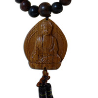 Wholesale Peach car pendant ornaments carved rosewood beads Lord Buddha Amitabha car rearview mirror hanging mirror Buddhism