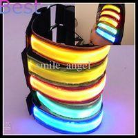 Wholesale LED Armbands Night Run Walk Cycling Safety Bracelets Lights Flashing Glow Wristbands outdoor Sports luminous Reflective lattice Armbands