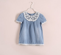 Wholesale Summer Girls Shirt Jeans t shirt Dress Short Sleeve Doll Flower Boutique Children Clothign Denim Cowboy Shirts Kids Girl Clothes C1674