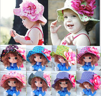 Girl Summer Visor Europe and America Girls Cap spring new product big flower dot Child bucket hat Children's fisherman hat Kids Sun Caps 10pcs lot TX217