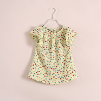 Girl Summer Long Kids Clothes Summer 2014 Girls Shirt Dress Long Style T-shirt Chiffon Pattern Soft Fruit Floral Painting Puff Sleeve Kid Girl Outwear C1675