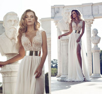 A-Line features - Julie Vino Fashion Wedding Dresses Cap Sleeve Gown Featuring Beaded Bodice With Plunging Neck Beaded Bodice Thigh High Slit Dress
