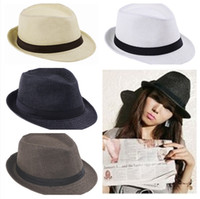 straw trilby hat - 10pcs Unisex Trendy Fedora Hat Trilby Gangster Cap Summer Beach Hat Sun Block Straw Cap Panama SunHat ZDS