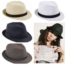 Wholesale 10pcs Unisex Trendy Panama Straw Hats Trilby Gangster Cap Summer Beach Hat Sun Block Straw Cap Panama SunHat ZDS