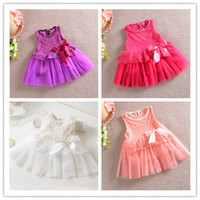 TuTu Summer A-Line Lace Dresses Children Clothes Pleated Dress Flower Dresses Baby Summer Dress Kids Clothing Jumper Skirt Girls Cute Bowknot Princess Dresses