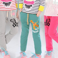 Wholesale Pure Cotton Leisure Spring Children s Casual Pants Children Girls Cartoon Giraffe Zebra Printing Kids Sports Trousers Sweatpants F0236