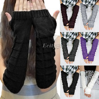 Wholesale 2014 new Ladies Women Winter Knitted Hand Wrist Arm Warmer Fingerless Warm Gloves Mittens fx216