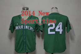 Wholesale Mariners Ken Griffey American baseball jersey cheap good quality green signed jersey authentic jerseys Sell Size M XXXL allow mix order