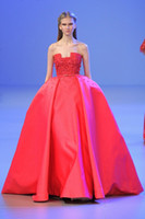 Wholesale 2014 Elie Saab Spring Hottest Red Appliques Prom Dress Ball Gown Strapless Sweep Train With Sash Evening Gown