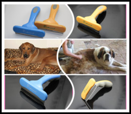 Wholesale 300Pcs Yellow Blue Fasaiton Large quot deShedding Tool Brush Pet brush for Dog Grooming F303