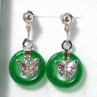 Wholesale Lovely lady s butterfly green red purple blue jade circle stud dangle earring