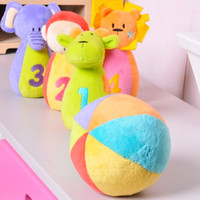 Wholesale DHL Hessie Plush Toy Bowling With Rattle Inside Soft Ball Children Present Infant Gift Animal Baby Stuffed Toys