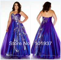 Reference Images Sweetheart Organza MC81765 Sweetheart Floor Length Peacock Royal Blue Plus Size Prom Dresses 2014 Sexy Evening Gowns