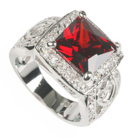 Wholesale Trendy Red gemstone silver ring R617 sz