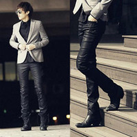 Wholesale Details about Fashion New Men s Casual Slim Fit Skinny PU Faux Leather s Trousers Pants