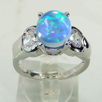 Three Stone Rings Men's Prong setting Blue Opal men Ring Wedding Jewelry DR03010680R -4.85G Free Shipping