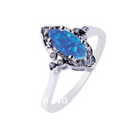 Wholesale womens Blue fire Opal sterling silver wedding Rings Opal jewelry