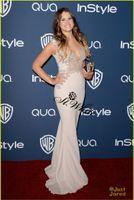 Wholesale 2014 st Annual Golden Globe Awards Sosie Bacon Floor Length Applique Celebrity Rice White Deep V Neck Evening Gowns